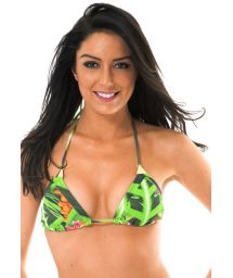 Green tropical print triangle bikini top with gold details - SOUTIEN TAPAJO SUPER