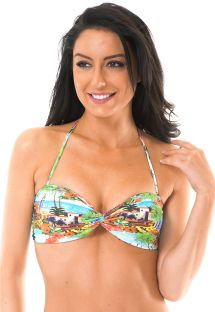 Bandeau top with strappy back and landscape print - SOUTIEN TRANCOSO POP