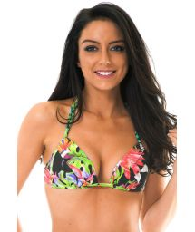 Padded tropical print triangle scarf top - SOUTIEN TROPICALI LOTUS