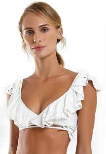 White lace ruffled bralette top - TOP BABADO NOVO LAISE BRANCO