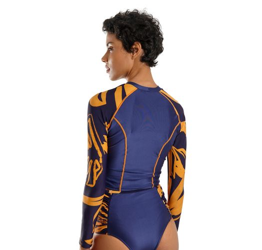 Navy & gold long-sleeved rashguard top - TOP BOARD BOLD LEAFS
