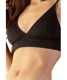 Black ribbed bikini top with adjustable straps - TOP DELTA PRETO