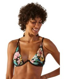 Black underwired triangle top in tropical flowers - TOP FOX HAWAI