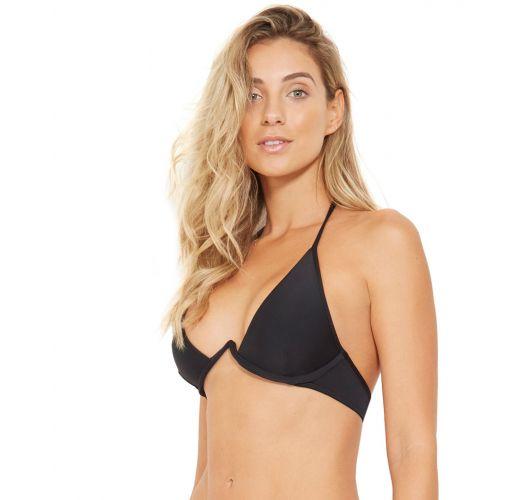 Svart, trekantet bikinibånd med støtte - TOP FOX PRETO