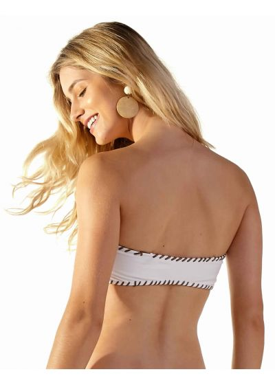 White bandeau top with crochet stitching - TOP GIL BRANCO