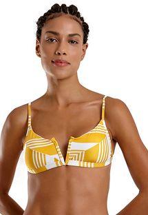 Yellow & white striped v-bralette bikini top - TOP JOY NASCA