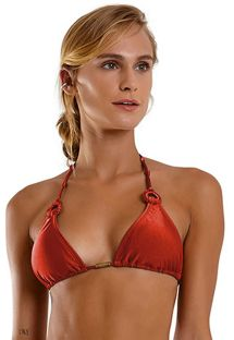 Red brick triangle top with ring detail - TOP SEXY LISO VERMELHO