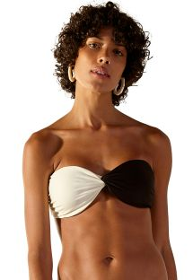 Two-tone black / white bandeau top - TOP STRIKE LISO BICOLOR