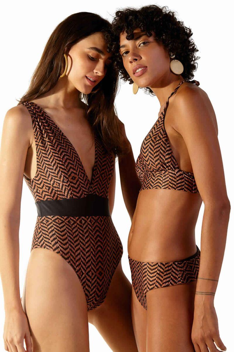 Brown ethnic longline bikini top - TOP SUNQUINE MAR GAYA