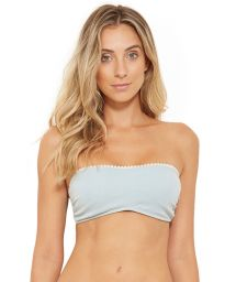 Light grey bandeau top with pompom finishing - TOP TQC JEANS COLLAGE