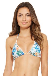Floral triangle top with border pompoms - TOP WAVE OSTRA