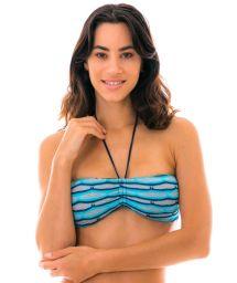 Bandeau blue & black crochet bikini top - TOP DIONE AZUL