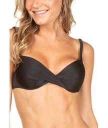 Black balconette top with drape effect - TOP BIQUINI LISO PRETO