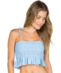 Light blue textured and ruffled crop top - TOP CROPPED LISO AZUL
