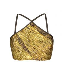 Gold crop bikini top with lurex straps - SOUTIEN CROPPED STRAPPY RELUZENTE