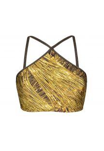 Crop top de bain imprimé doré bretelles lurex - SOUTIEN CROPPED STRAPPY RELUZENTE