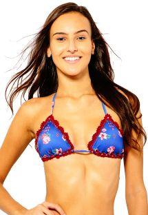Blue floral triangle bikini top with red embroidery - SOUTIEN CASSANDRA