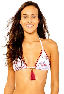 White floral triangle bikini top with red pompon - SOUTIEN LUARA WHITE LIBERTY