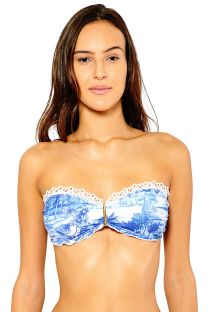 Blue printed bandeau top with crochet detail - SOUTIEN REBECCA