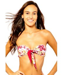 Front-tied bandeau top with floral print - TOP IRIS ORCHID