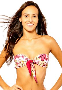 Blomstret bandeau-top med binding foran - TOP IRIS ORCHID