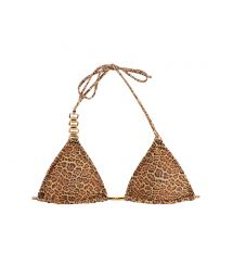 Animal print triangle bikini top with removable pads - SOUTIEN BIKINI JAGUATIRIC