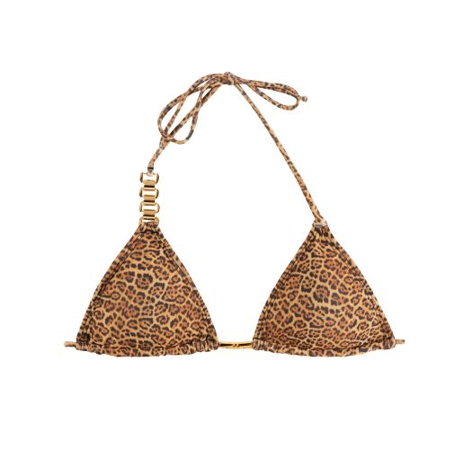 Animal print triangle bikini top with removable pads - SOUTIEN BIKINI JAGUATIRIC