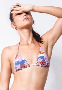 Sliding triangle top in stripes and flowers - TOP CORTININHA BOUGAINVILLE LISTRA