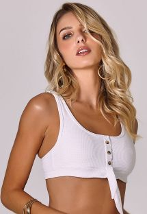 White textured bikini top with buttons - TOP POSITANO BRANCO
