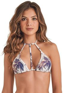 Biustonosz  do bikini z paseczkami i nadrukiem w palmy - TOP STRAP COQUEIRO