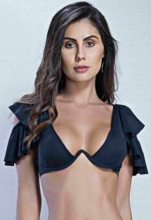 Black crop top with underwire and ruffle - TOP DUPLO PRETO