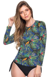 Feminine rashguard - colorful tropical print - MANGA LONGA ARARA AZUL