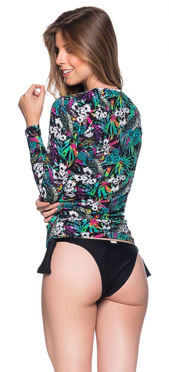 Flerfärgad, blommönstrad rashguard för kvinnor - MANGA LONGA ATALAIA
