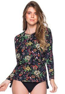 Feminine rashguard - black floral print - MANGA LONGA DREAM