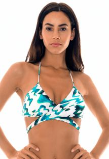 Blue two-tone criss-cross front bikini top - SOUTIEN ABSTRATO CRUSADO