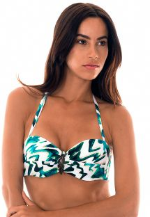 Blue/white bandeau top with leaf detail - SOUTIEN ABSTRATO DRAPEADO