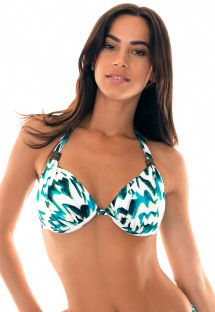 Blue printed halterneck triangle bikini top with underwires - SOUTIEN ABSTRATO TURBINADO