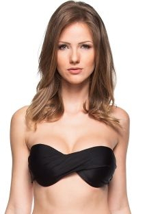Plain black twisted bandeau top - SOUTIEN AGUAS CALMAS