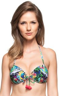 Multicoloured Cuba-print push-up bikini top with tassels - SOUTIEN AGUAS PURAS
