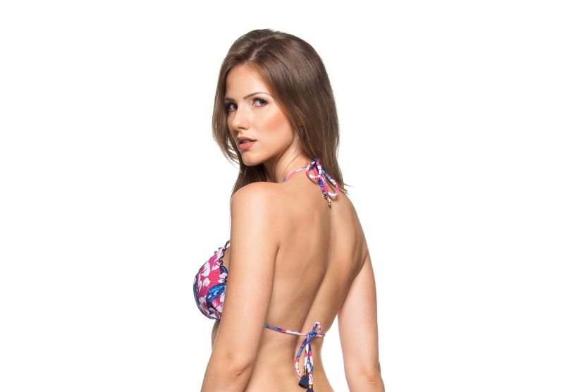 Pink and blue floral triangle top with wavy edges - SOUTIEN AGUAS TRANSPARENTES