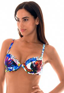 Tropical print push up bikini top - SOUTIEN ARARAS