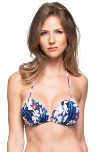 Padded pleated floral bleu/white triangle top - SOUTIEN ATLANTICO NORTE