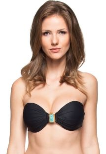 Black bandeau top with cups and green stone detail - SOUTIEN BARREIRA DE CORAL