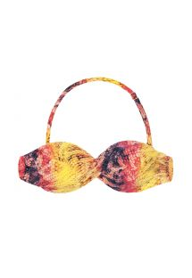 Padded bandeau bikini top in a pink and yellow animal print - SOUTIEN COBRA COLOR
