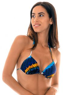 Feather-printed padded triangle top with decorative ring - SOUTIEN COCAR ARGOLA