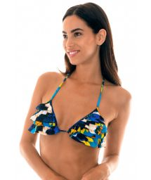 Blue feather-printed flounced triangle top - SOUTIEN COCAR BABADINHO