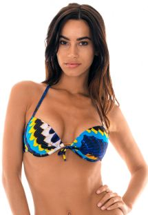 Blue feather-printed underwired push-up bikini top - SOUTIEN COCAR MINI