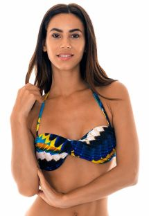Feather-printed twisted bandeau top with cups - SOUTIEN COCAR TORCIDO