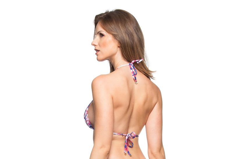 Pink and blue floral print padded triangle top - SOUTIEN DESTINO PARADISIACO