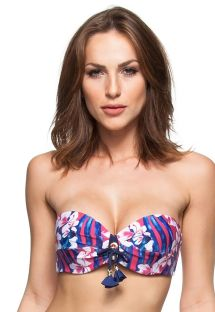 Pink and blue floral padded bandeau bikini top with tassels - SOUTIEN DESTINOS DO CARIBE